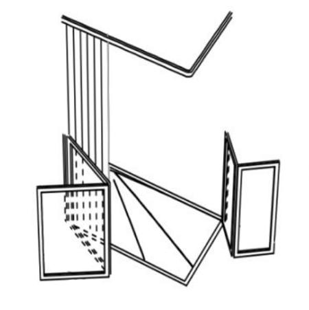 Parois de douche en angle - 2 + 2 panneaux repliables - ...