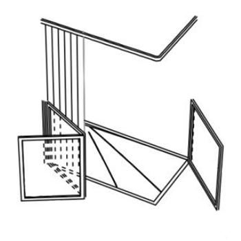 Parois de douche en angle - 2 panneaux repliables  + 1 p...