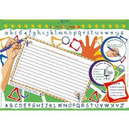 Bloc sous-main pour gauchers - Guide-main pour écrire...
