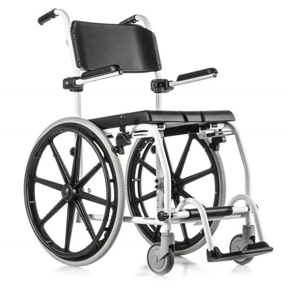 Delphin - Fauteuil de douche à siège percé à grande roue...